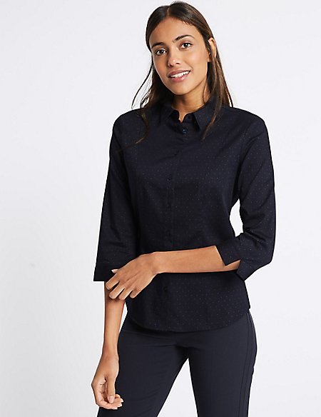Marks & Spencer Cotton Rich Split 3/4 Sleeve Shirt - - 8 Sale Clearance Store Free Shipping Really M789AmE