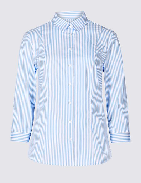 Cotton Rich Striped 3/4 Sleeve Shirt