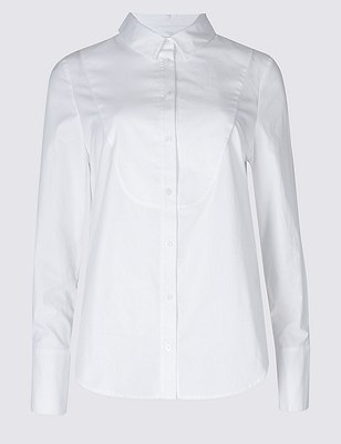 PETITE Pure Cotton Long Sleeve Shirt white Marks and Spencer