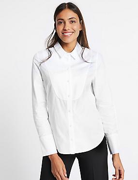 Pure Cotton Stretch Bib Detail Shirt