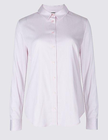Cotton Rich Striped Long Sleeve Shirt