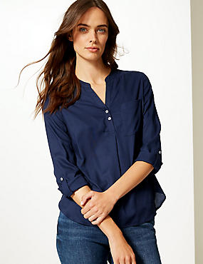 Notch Neck 3/4 Sleeve Blouse