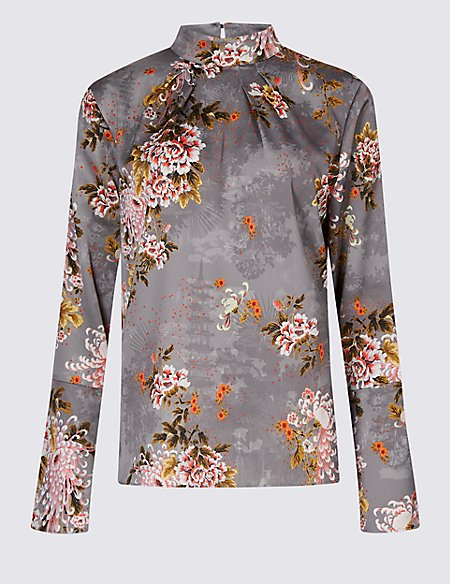Printed Turtle Neck Long Sleeve Blouse