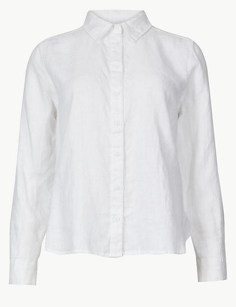 PETITE Pure Linen Button Detailed Shirt
