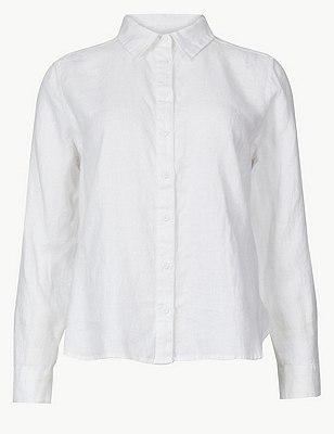 PETITE Pure Linen Long Sleeve Shirt