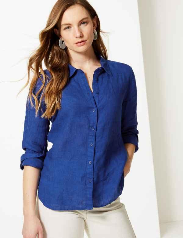 b9319519f576 Pure Linen Button Detailed Shirt