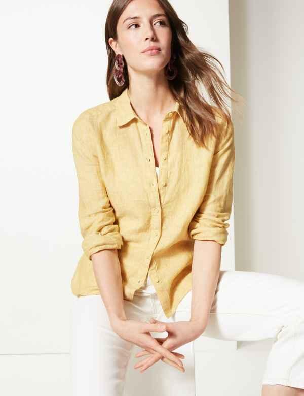 d9d66e846d6 Pure Linen Long Sleeve Shirt