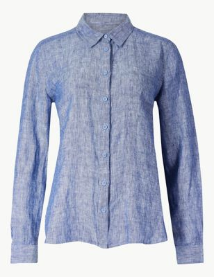 875d63a39d10 Pure Linen Long Sleeve Shirt £27.50