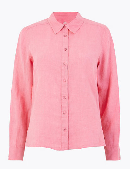 280dd1f515 PETITE Pure Linen Button Detailed Shirt   Shirts & blouses   Marks ...