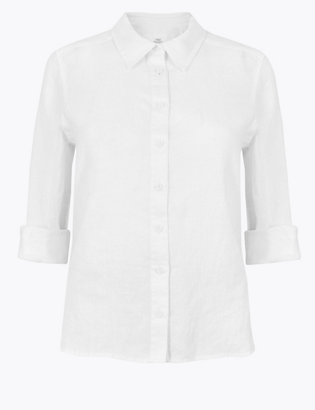 Petite Pure Linen Button Detailed Shirt by Standard Tracked Delivery