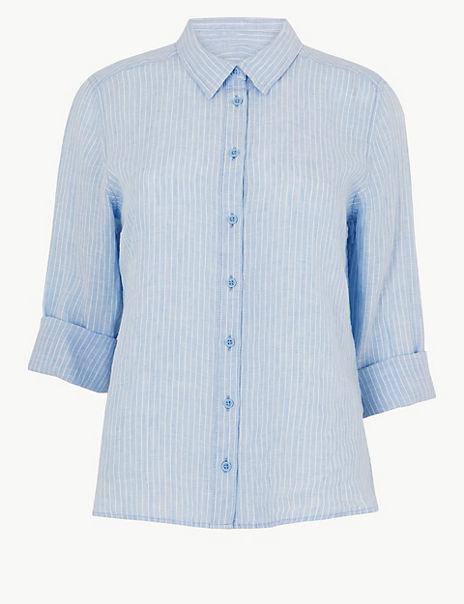 PETITE Pure Linen Striped Shirt