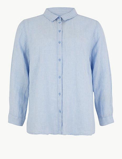 CURVE Pure Linen Oversized Striped Shirt