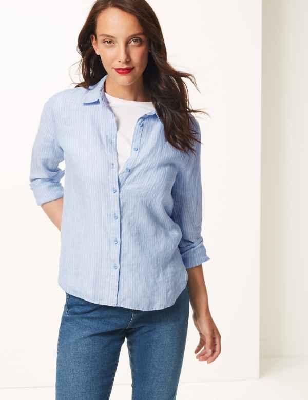 83835f3aa76 Pure Linen Striped Shirt