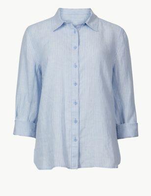 7288da6fd4535 Pure Linen Striped Long Sleeve Shirt £27.50
