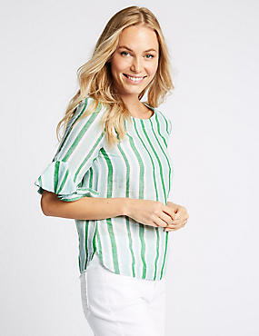 Linen Rich Striped Ruffle Sleeve Blouse