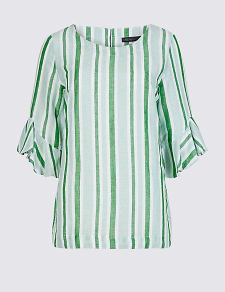 Linen Rich Striped Ruffle Sleeve Blouse