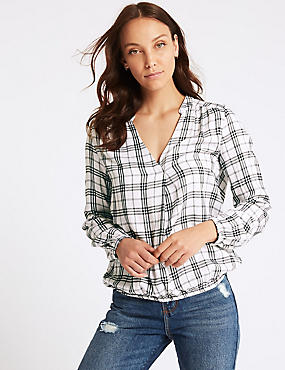 Checked Notch Neck Long Sleeve Blouse