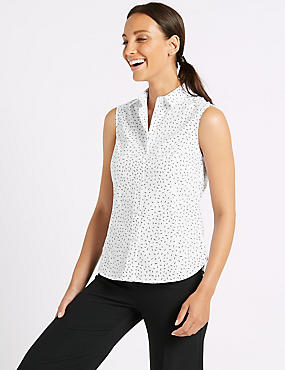 Cotton Rich Printed Sleeveless Shirt