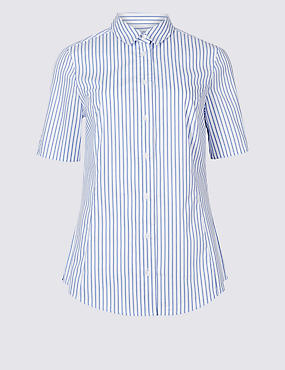 Cotton Rich Striped Short Sleeve Shirt
