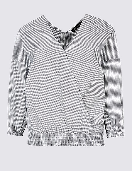 Checked V-Neck 3/4 Sleeve Blouse