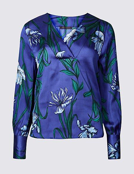 Satin Floral Print V-Neck Long Sleeve Blouse