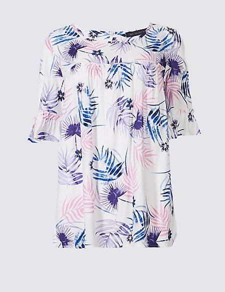 Floral Print Yoke Detail Half Sleeve Blouse