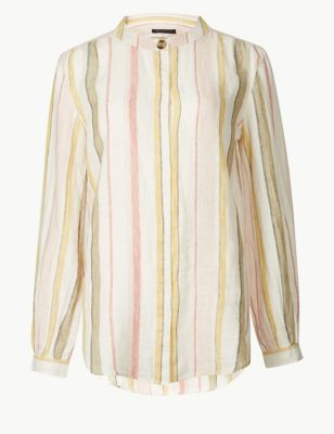 d48ccb727d0cd Pure Linen Striped Long Sleeve Shirt £32.50