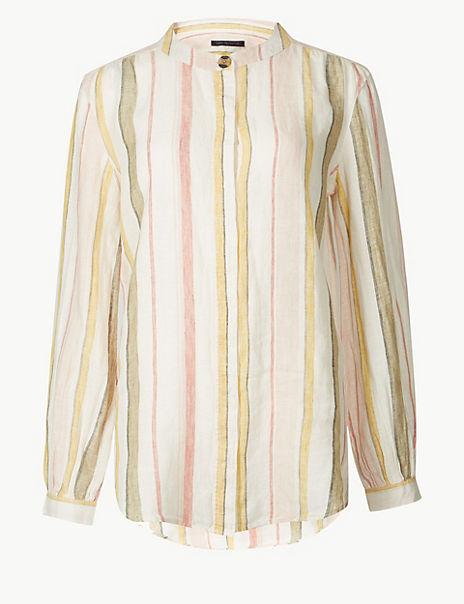 Pure Linen Striped Long Sleeve Shirt