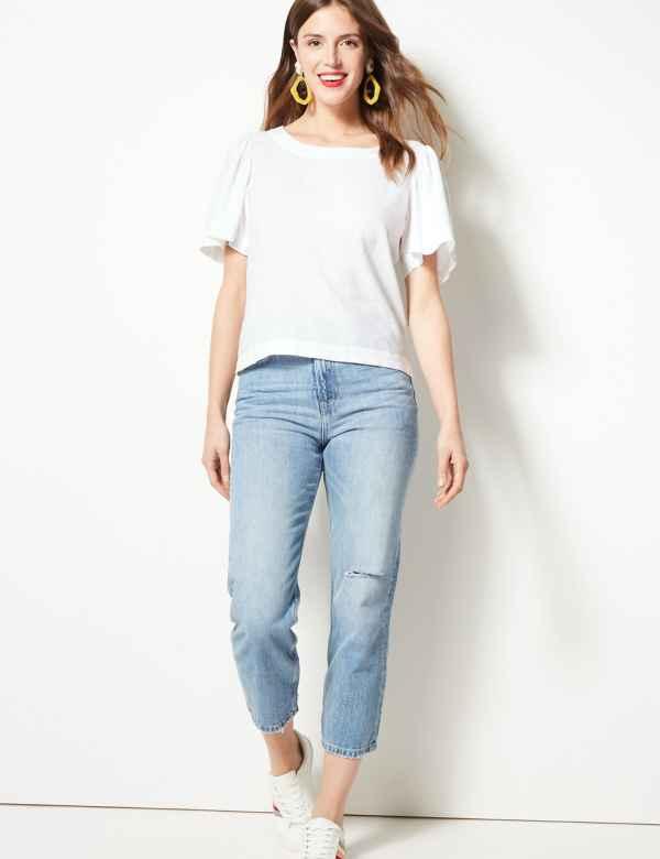 4b56a4530f1cf Linen Rich Round Neck Short Sleeve Blouse