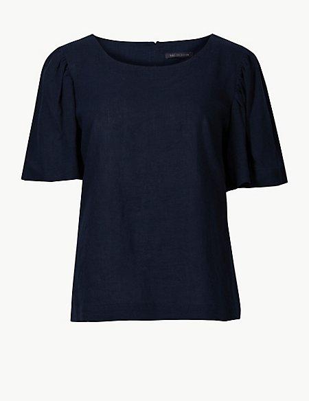 Linen Rich Round Neck Short Sleeve Blouse