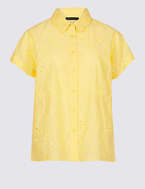 Pure Cotton Embroidered Short Sleeve Shirt