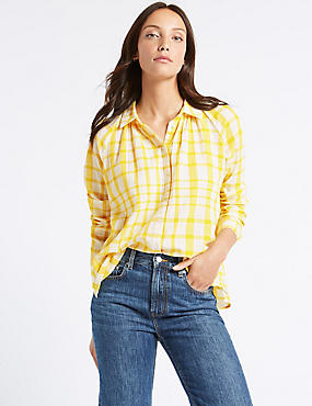Pure Cotton Checked Long Sleeve Shirt