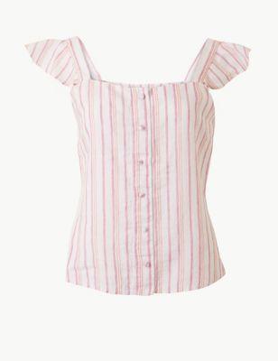 4da1bea5 Pure Linen Striped Camisole Top £25.00