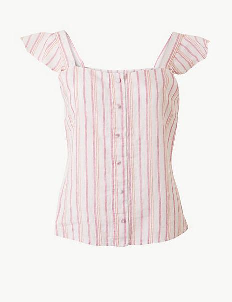 Pure Linen Striped Camisole Top