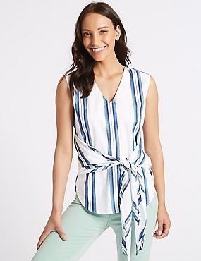 Pure Cotton Striped V-Neck Blouse