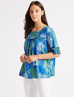 Printed Round Neck 3/4 Sleeve Blouse