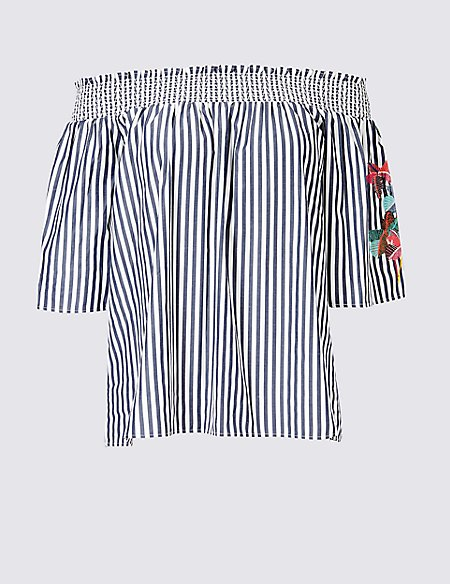 Striped Embroidered Sleeve Bardot Top