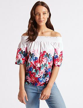 Floral Print Half Sleeve Bardot Top
