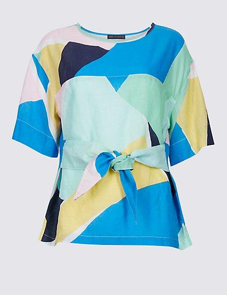 Linen Rich Printed Half Sleeve Blouse