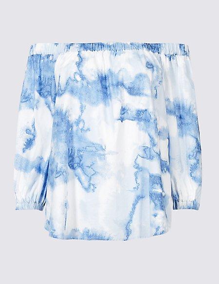 Pure Cotton Printed 3/4 Sleeve Bardot Top
