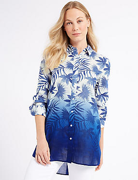 Pure Cotton Printed Longline Shirt