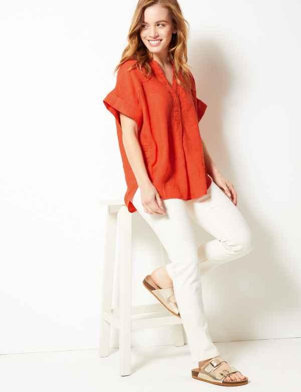 258668ca510cb1 Womens Linen Shirts & Blouses | M&S
