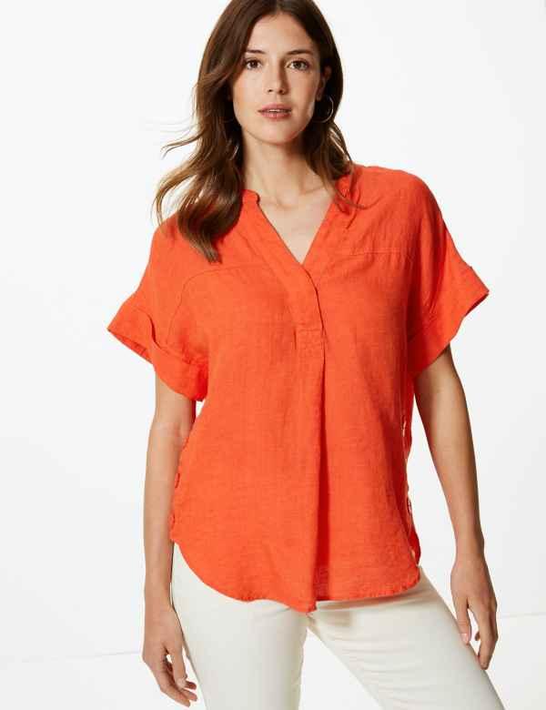 b588ded9c7b Pure Linen Short Sleeve Shirt