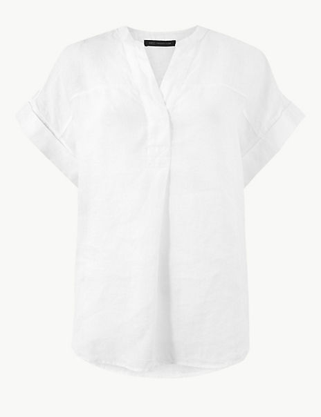 Pure Linen Short Sleeve Blouse