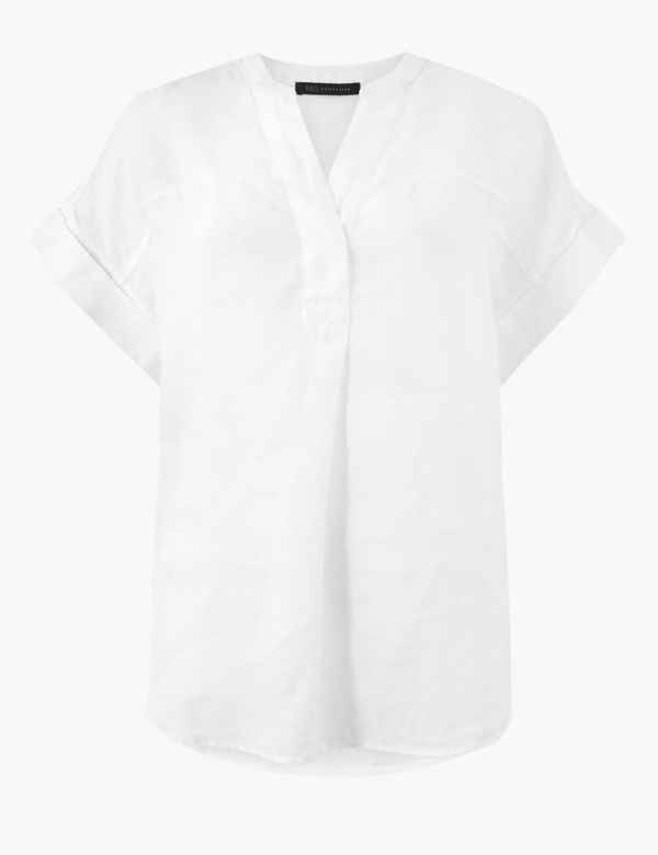 e6cf3401fd4 Pure Linen Short Sleeve Shirt. M S Collection