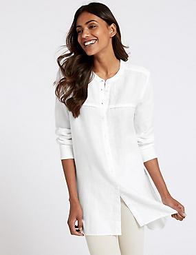 Pure Linen Longline Long Sleeve Shirt