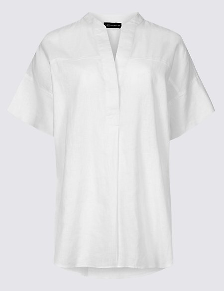 Linen Rich Notch Neck Half Sleeve Blouse