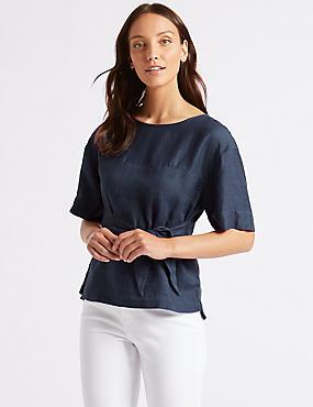 Pure Linen Round Neck Half Sleeve Blouse