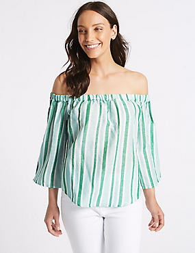 Linen Rich Striped 3/4 Sleeve Bardot Top
