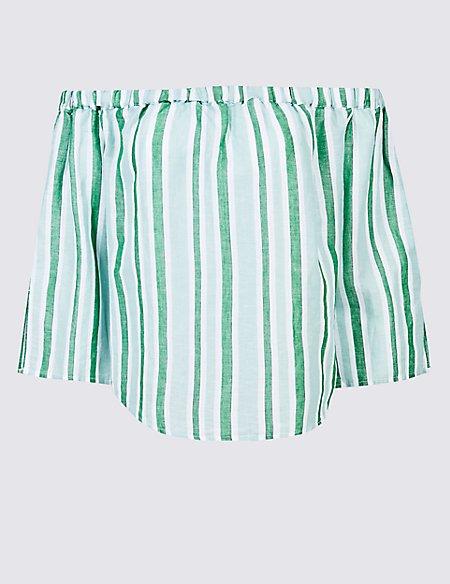 Linen Rich Striped 3/4 Sleeve Bardot Top